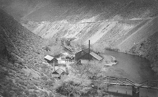 The Vivian Mill in about 1885. The mill was the eastern most mill in Carson River Canyon.