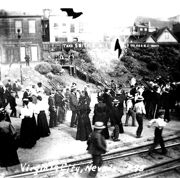 North E Street near the railroad depot in Virginia City, probably in the late 19th century.