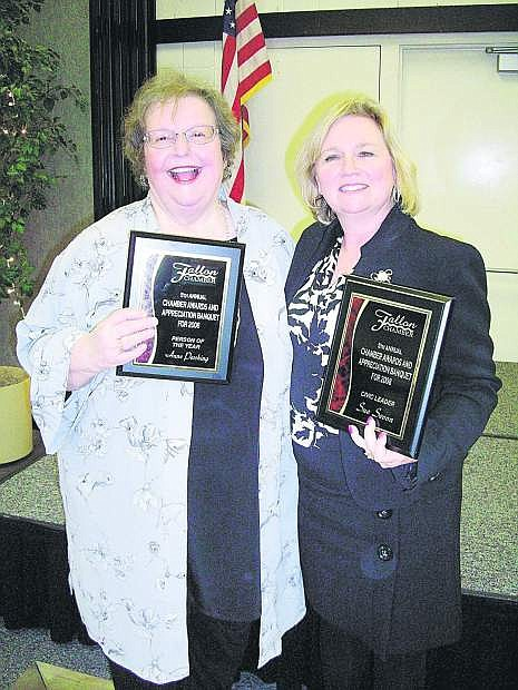 In this 2009 photo, Anne Pershing, left, was named Person of the Year. Sue Sevon, at right, was named Civic Leader of the year.