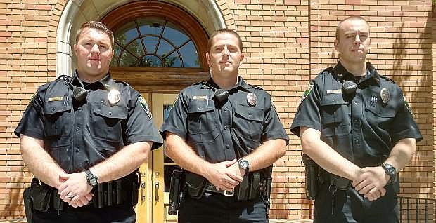 Three Fallon Police officers recently graduated from POST. They are, from left, Austin Wood, Zachary Jacobs and Joseph Shyne.