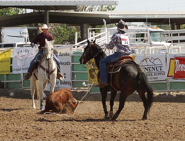 Jake Cerini and Blain Jensen took first in state team roping.