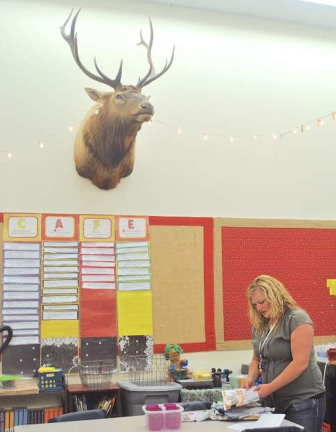 Oasis Academy elementary teacher Jenna McElhannon said students really like Elvis, an elk from Oregon.