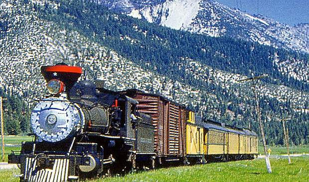 Although this wasn't the final run of the V & T Railroad in 1950, this freight train chugs through Washoe Valley.