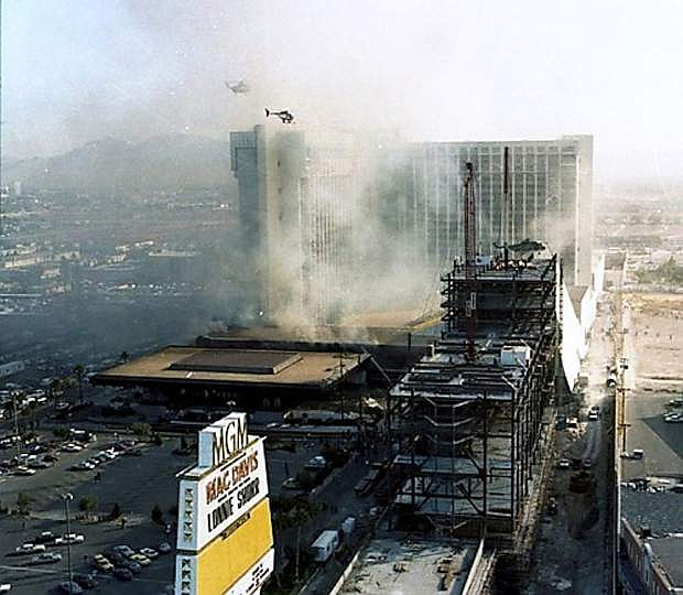 A view of the MGM Grand during the Nov. 21, 1980, fire shot from the Las Vegas Strip side of the casino.