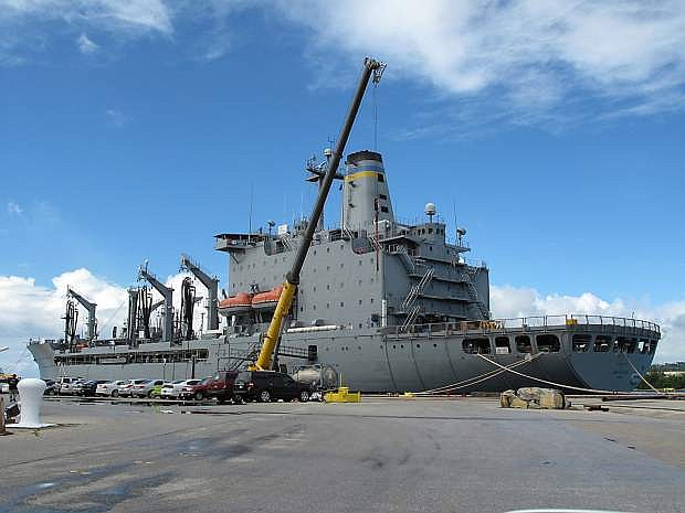 The USNS John Ericsson, a Military Sealift Command 677-foot replenishment oiler, lies at its temporary berth at U.S. Navy Base Guam.