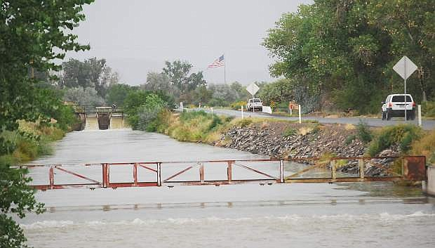 Rain pounded one of the irrigation canals north of Fallon Sunday when .16 inch of preciptation fell in the area.