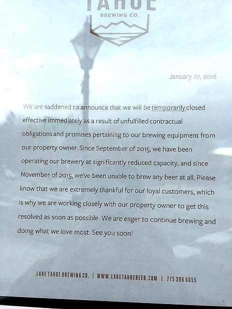 A look at the sign on the door at Lake Tahoe Brewing Company's Carson City location.