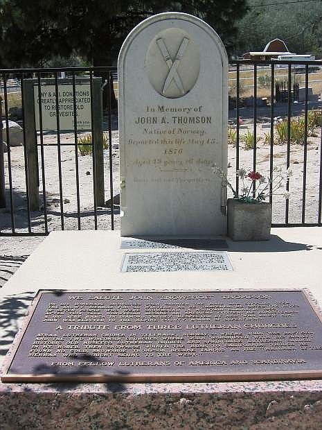 Grave of Nevada pioneer Snowshoe Thompson, located in Genoa. Thompson introduced skiing to the Sierra Nevada and Northern California region.