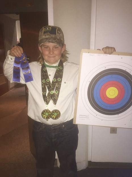 Case Utter, who shot from Comstock Hot Shots, competed in Archery and Pistol and got gold in each in his age group.