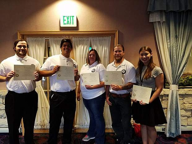 Shown here, some of the 10 AmeriCorps members serving the Lyon County region: Brandon Allard, Preston Shahan, Alisha Moss, and Justin Reid. All were recently sworn in at an AmeriCorps ceremony in Carson City.