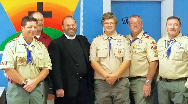 From left  are Jim Steel, Steve Cathey (in the red shirt), Pastor Jason Thornton, C.J. Turley (the Eagle Scout), Jim Shurtliffe and Steve Endacott.
