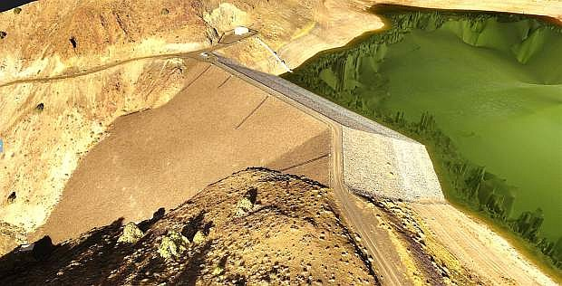 The Phantom 4 drone was used to produce three-dimensional images of the Brunswick Canyon dam and reservoir where Carson City stores its reclaimed water in the winter.