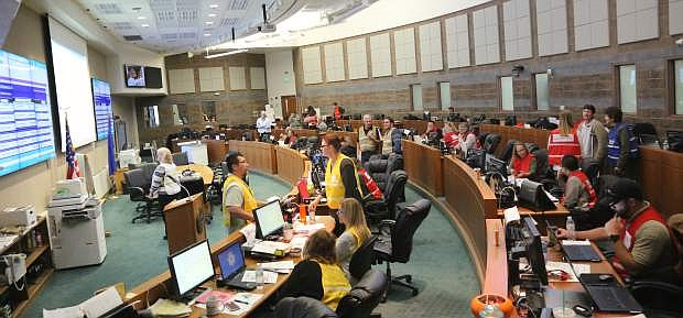 Various state deparments gather on Monday in the Emergency Operations Center to take part in Vigilant Guard '17, a program to test the reponse of agencies to a powerful mock earthquake.