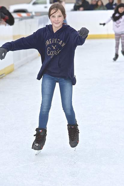 12-year-old Carson Middle School student Tarah Wright makes her way around the ice rink Saturday.