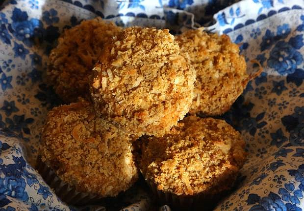 Banana Coconut Muffins with Toasted Coconut Streusel