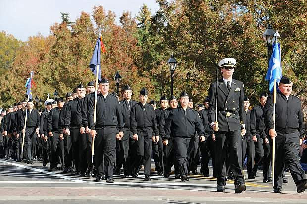 The Carson High School JR ROTC march during Saturday's Nevada Day parade.