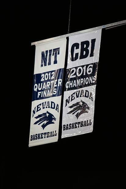 Nevada's College Basketball Invitational Championship banner was raised Friday.