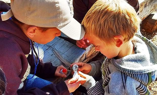 Riverview Elementary School students test properties of minerals at a recent field trip to Lake Tahoe.
