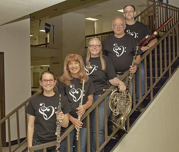Quintessential will perform a recital in Carson City on Sunday, Nov. 13. From the left: Kelsey Edmondson, Nancy Irwin, Jen Sturm, Jon Rabben, and Chris Bonelli.