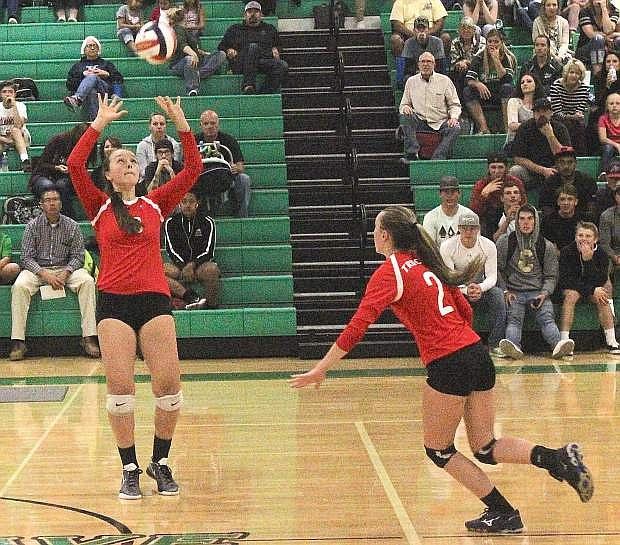 Ryleigh Hogland of Truckee sets up Hayli Stewart for a kill against Fallon in September.