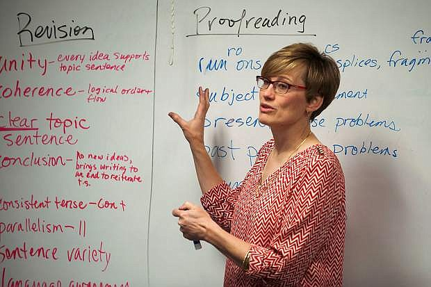Instructor Kathryn Whitaker teaches an English class at Western Nevada College in Fallon, Nev., on Wednesday, March 25, 2015.