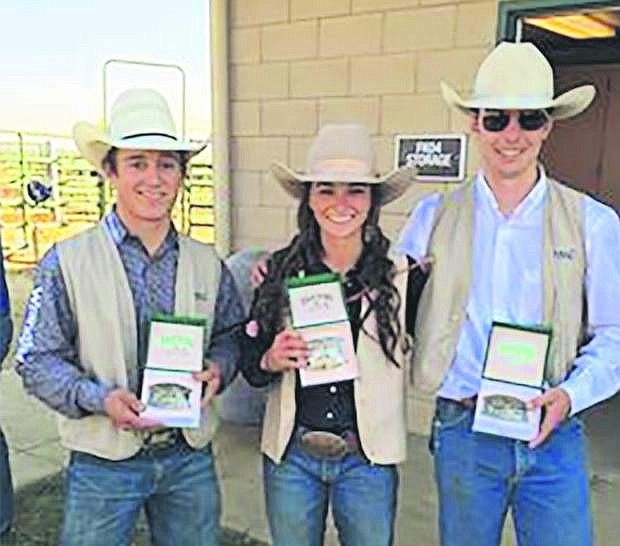 From left are WNC rodeo team members Clayton Biglow, Courtney Woods and Quincy Crum, who all performed well at the last rodeo..