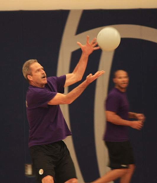 Juvenile Probation Director Ben Bianchi attempts to catch the ball during the Dodge for a Cause Friday.