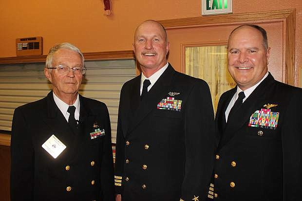 Attending the Elks Lodge 2239 veterans program on Friday were, from left, CWO4 Bruce W. Reed, Cmdr. Kevin Dowd and Capt. Greg Harris.