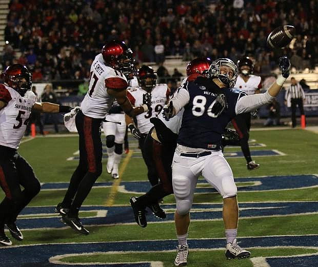 Nevada tight end Brandon Scott can't come up with the touchdown grab in the first quarter on Saturday.