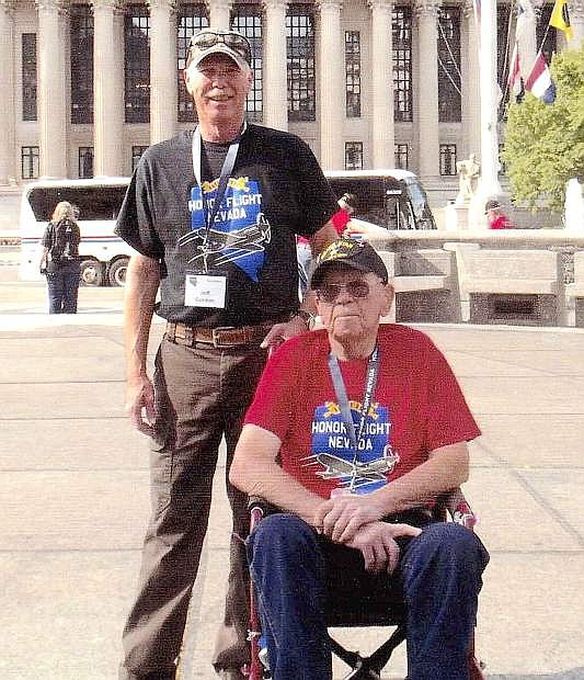 Luther Gordon, front, who served during World War Ii ad fought at the Battle of the Bulge, traveled to Washington D.C. earlier this year with his son Jeff on a Honor Flight Nevada trip.