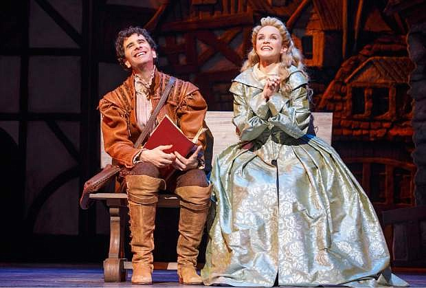 """This image released by Boneau/Bryan Brown shows John Cariani, left, and Kate Reinders during a performance of """"Something Rotten,"""" in New York. (Joan Marcus/Boneau/Bryan Brown via AP)"""