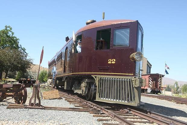 Arndt Tonneson pilots the McKeen Motorcar, originally built in 1910. The V&T #22 is the only running example in the world and was restored over a period of 14 years with a cost of about $1 million. NV 150 Railfest attendees are able to buy tickets to ride the historic train.