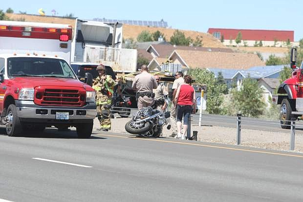 A motorcyclist was injured Wednesday after an accident on Highway 395 between Mica Drive and Jacks Valley Road. Traffic was backed up while the Nevada Highway Patrol investigated the crash. No other information was available Wednesday.