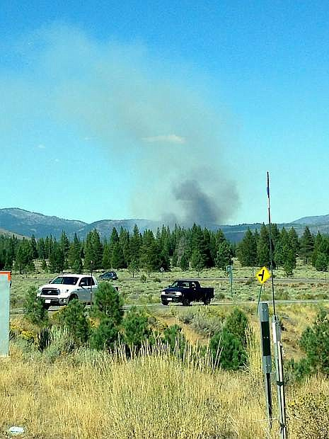 Wesley R. Clemens submitted this image, showing smoke emitting from the fire near Boca. Clemens took the photo at about 3:40 p.m. from Highway 267 near Northstar California.