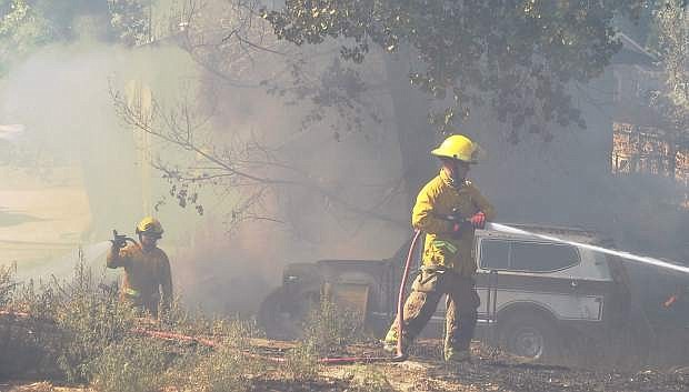 Firefighters from the Fallon/Churchill Fire Station arrived at the property on Alcorn Road to investigate and stop the spread of the fire.