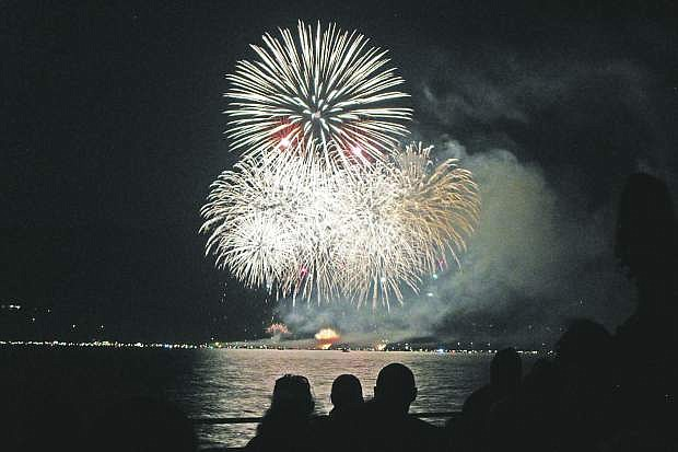 Hundreds turned out to watch the Fourth of July fireworks from Regan Beach during a previous celebration.