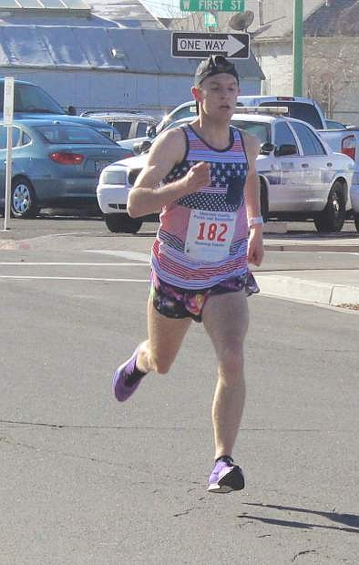 Tanner Boone got the overall best time in the New Year's fun run at about 16-and-a-half minutes.