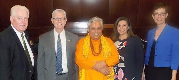Just before the Hindu prayer in Nevada State Assembly, from left to right are Nevada Assembly Speaker John Hambrick, Assemblyman Erven T. Nelson, Hindu statesman Rajan Zed, Assemblywoman Teresa Benitez-Thompson and Assemblywoman Heidi Swank.