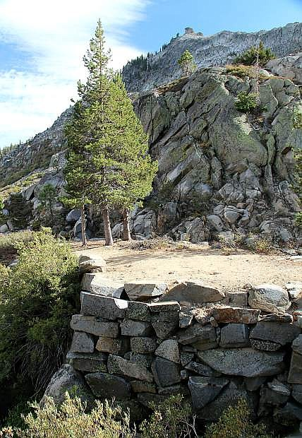 The remains of an old bridge abutment on the original Highway 40 in Summit Canyon below Donner Pass are seen.