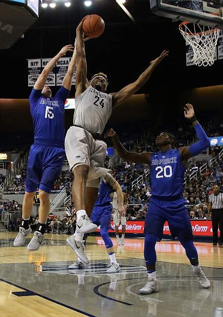 Jordan Caroline goes up for a rebound Wednesday.