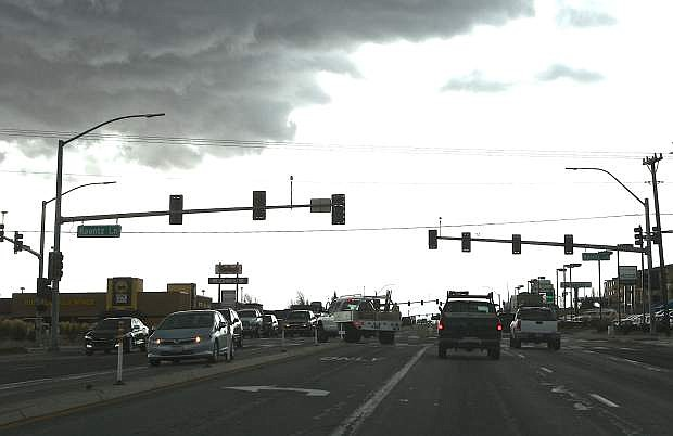 Traffic signals are out in south Carson City as a result of the high winds. At least 4 intersections were affected Thursday morning.