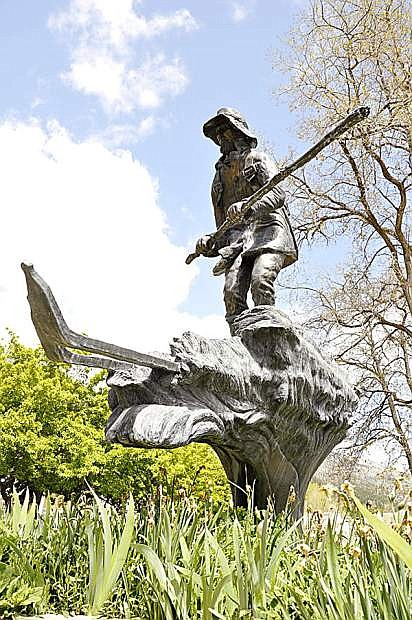 The Snowshoe Thompson statue at Mormon Station State Historic Park in Genoa is turning 15 this month.
