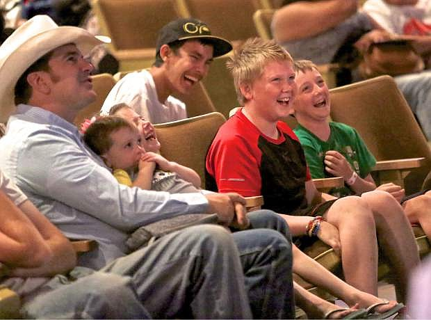 Kids crack-up laughing during an anti-bullying talk by Michael Pritchard Wednesday night in Carson City.