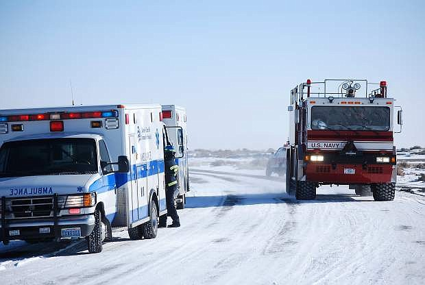 The second of three NAS Fallon crash truck arrives at the Bango site.