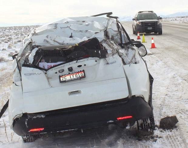 An out-of-state driver rolled his vehicle near the Churchill-Lyon County line Friday morning.