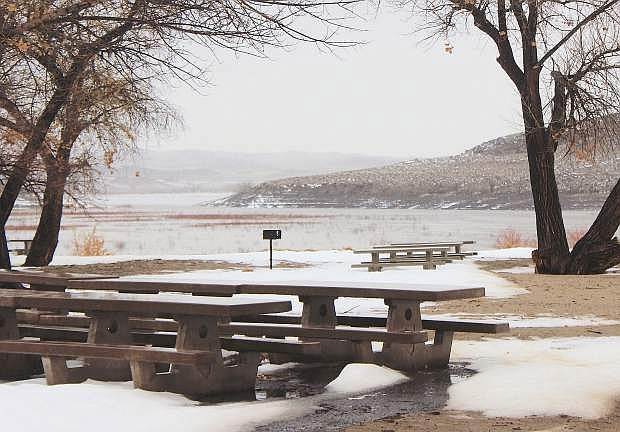A view from the Silver Springs beaches shows an increase of water in Lahontan Reservoir on Sunday.