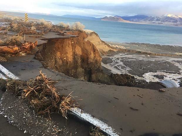 Floods closed many roads in western Nevada due to flooding including several highways to Pyramid Lake.