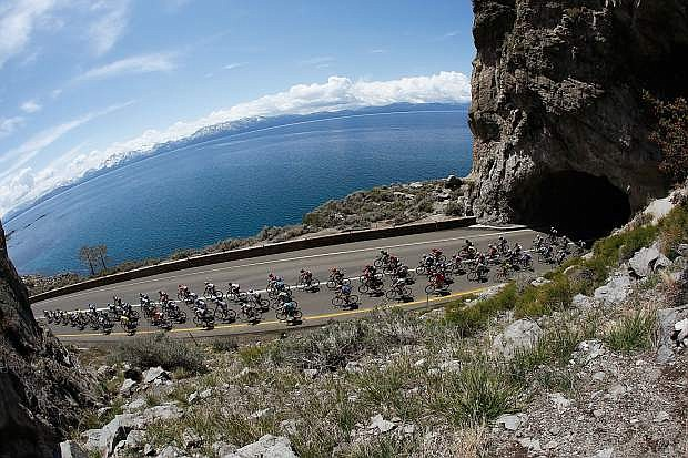 Cyclists race around Lake Tahoe during stage one of the 2015 AMGEN Tour of California Women's Race in Douglas County, Nevada.