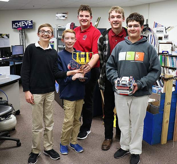 A team of five 7th and 8th grade students from Eagle Valley Middle School are the first Lego League team in Carson City to compete with their robots in world championships. From left, Nevan McIlwee, Kai Miller, Ryan Cooley, Cash Farnworth, and Emmanuel Alvarez.