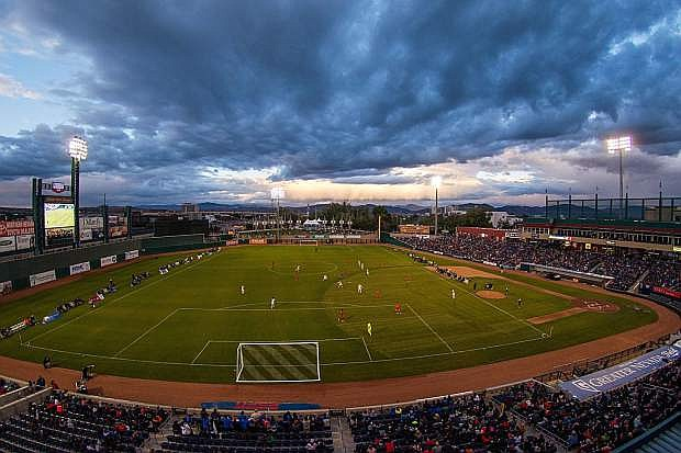 A panoramic view of the exhibition soccer match between Liverpool FC U21s and Sacramento Republic FC on May 25, 2016 at Reno's Greater Nevada Field.